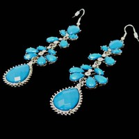 Long Dangle Earrings Teardrop Rhinestone Cerulean Blue and Clear Bezel Set Round in Silver Tone Wires for Pierced Ears