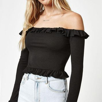 ONETOW LA Hearts Ruffled Long Sleeve Off-The-Shoulder Top at PacSun.com