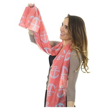Anchor Toss Long Scarf - Blue on Coral Pink