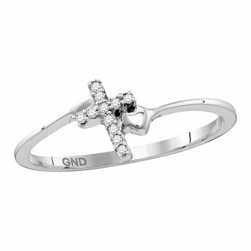 Sterling Silver Womens Round Diamond Delicate Slender Cross Religious Ring 1/20 Cttw
