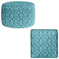 Ottoman Foot Stool Pouf Round or Square from DiaNoche Designs by Julia Grifol Home Decor and Unique Bedroom Ideas - Blue Leaves