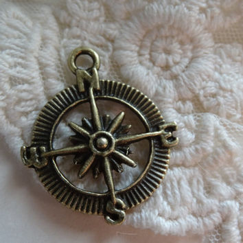 2- Compass Charm Antique Bronze 4 Points North East South West Cardinal Direction Pendants Diy Jewelry Making Supplies