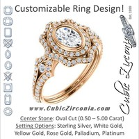 Cubic Zirconia Engagement Ring- The Arya (Customizable Oval Cut with Ultrawide Pavé Split-Band and Nature-Inspired Double Halo)