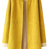 Plain Loose Knit Yellow Cardigan