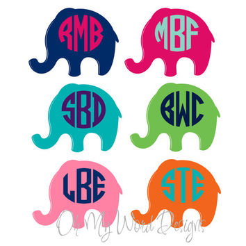 Preppy Elephant Car Monogram