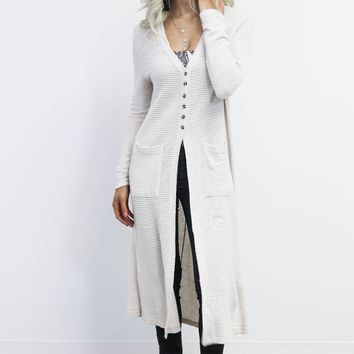 The Desire Nude Waffle Knit Duster Cardigan
