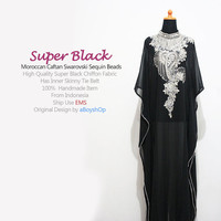 Moroccan Super Black Chiffon Caftan Swarovski Sequin Beads Dubai Abaya MAXI Dress, Kaftan Dress, Wedding Dress, Party dress - For Women