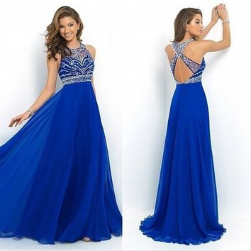 Beaded Halter Prom Ladies Dresses Party Backless Sequin