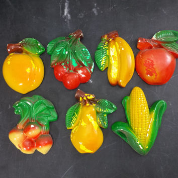 Chalkware Fruit and Vegetable Plaques Vintage Kitchen Retro Wall Hanging Decor Chippy Paint Farmhouse Country Kitsch Chalk Ware Food Hangers