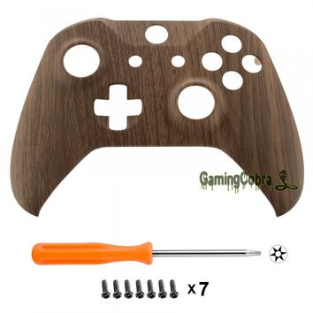 Custom Wood Grain Soft Touch Top Housing Replacement Shell for Xbox One S Remote Controller