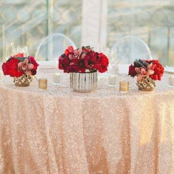 Peach Sequin Linens