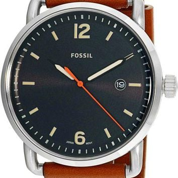 Fossil Mens FS5328 Commuter Black Dial Brown Leather Watch