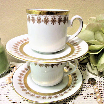 Cup and Saucer Tirschenreuth Bavaria Demitasse Porcelain Gold Design Germany Set of Two blm
