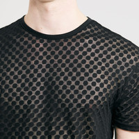 Spotty Sheer Long Line Fit T-shirt - Topman
