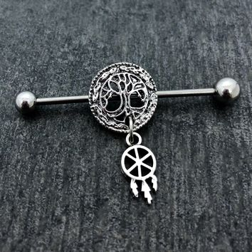 Tree of Life, Dreamcatcher Industrial barbell, body jewelry, 14 gauge stainless steel