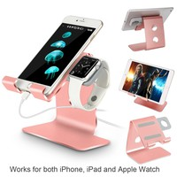 Tranesca Apple Watch Stand 2-in-1 charging stand for 38mm and 42mm Apple watch/iPhone/iPad (Rose Gold -Must have Apple watch Accessories)
