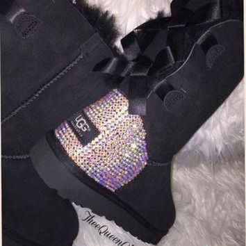 CUPUPS Crystal AB encrusted Bailey Bow Uggs