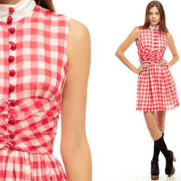 60s Mini Dress Mod Red GINGHAM Print Button Up Empire Waist HIPSTER Checkered 1960s Day Lolita Vintage Sleeveless Babydoll small