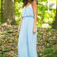 Captivating Crochet Maxi Dress. Sky Blue