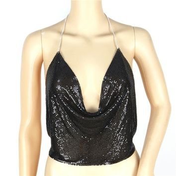 Fashion Womens Sexy Sleeveless Vest V Neck Sequins Strapless Blouse
