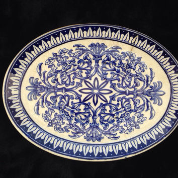 Antique Brown Westhead Moore & Co. flow blue Teutonic pattern, Cauldon England, oval dish. Victorian era.