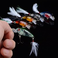 4.5cm 4g Fishing Lures Crank Baits Mini Crankbait 3D Eyes Artificial Lure Bait with Feather Lifelike Fake Lure YE-190