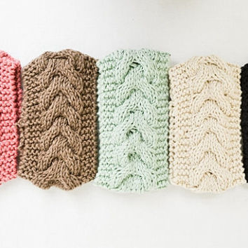Cable Knit Headband Ear Warmer Turband Style Women's Knit Fashion Hair Accessories - 5 Colors