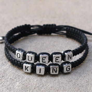 King Queen Bracelets, Couples Bracelets,Boyfriend Girlfriend Jewelry,Christmas gifts