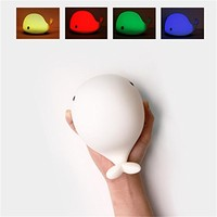 SROCKER Cute Dolphin Soft Silicone Bedside Lamp Children Night Light with Softlight, Stronglight and 4 Colorful Lights, USB Rechargeable, Sensitive Tap Control for Baby Kid Adults Bedroom, Nursery