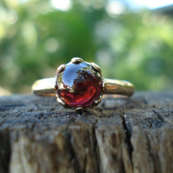 RESERVED FOR TARA, instalment payment of layaway plan, Cabochon garnet engagement ring, garnet gemstone, conflict free gem, ethical gold