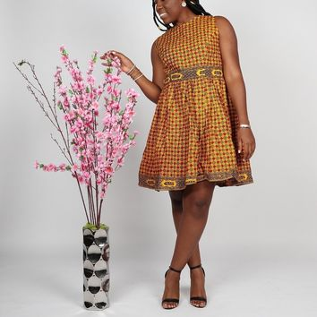 Yellow Print Ankara Skater Dress