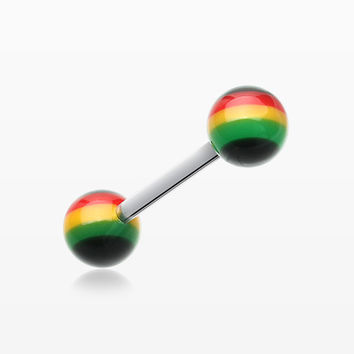 Rasta Jamaican Stripe UV Acrylic Barbell Tongue Ring