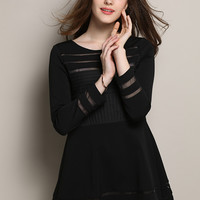 Black Long Sleeve Mesh Dress with Pleated Top