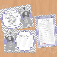 Chevron Baby Shower Invitations Boy Baby Shower Invitation Girl Baby Shower Invitation Wishes for Baby card Thank You card violet lavender