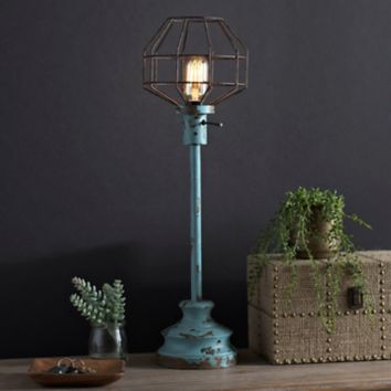 Distressed Turquoise Edison Bulb Table Lamp