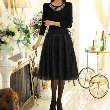 DCCKON3 Elegant lace Women long skirt tulle lace black pleated print maxi high waist skirt puffy skirts plus size