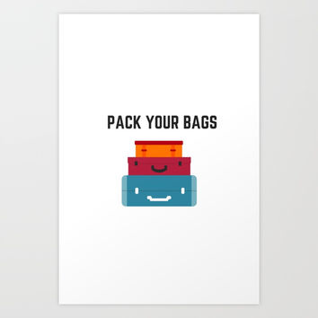 PACK YOUR BAGS Art Print by Love from Sophie