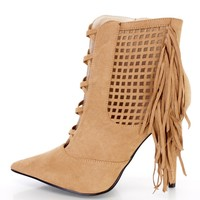 Camel Perforated Fringe Ankle Booties Faux Suede