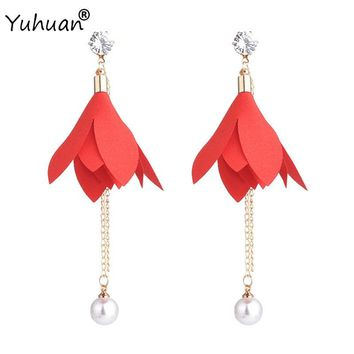 Yuhuan Jewelry Handmade Cloth Art Leaves Bohemian Women Tassel Earrings Long Chain Simulated Pearl Dangles Statement Ear Broncos