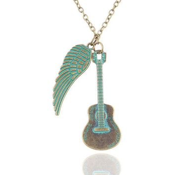 ONETOW New fashion love guitar wings necklace jewelry pendant jewelry