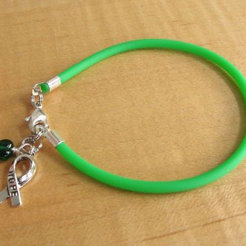 Green Awareness Bracelet (Rubber) - Cerebral Palsy, Glaucoma, Kidney Disease, Liver Cancer, Organ Donation, Mitochondrial Disease, HPV