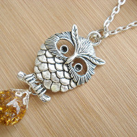 Retro Owl Amber Crackle Glass Long Necklace