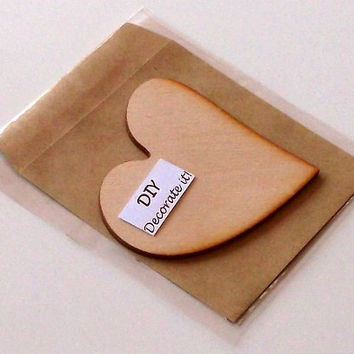 Wooden Heart Card With Envelope, Plain, DIY