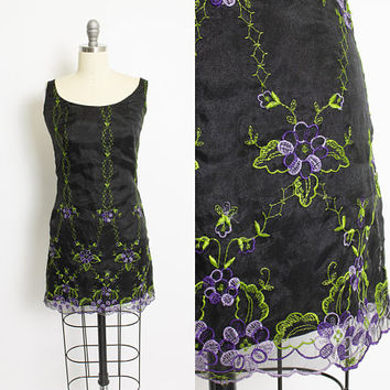Vintage Betsey Johnson Dress - 1990s NOS Embroidered Black Mini Dress - Extra Small