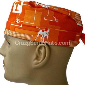 Men's Fold-Up Cuffed or Un-Cuffed Surgical Scrub Hat Cap in Tennessee Volunteers New Block