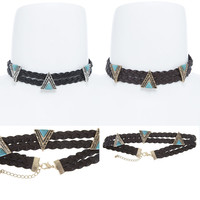 Women Vintage Gothic Western Fashion Turquoise Stone Braided CHOKER NECKLACE 12""