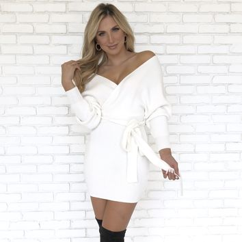 Cozy Night Sweater Dress in Ivory