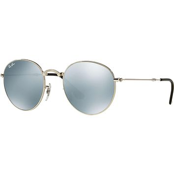 Ray Ban Round Metal Folding Sunglass Silver Silver Flash Mirror 3532 003/30 | Best Deal Online