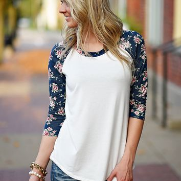 Perfect Fit Floral Baseball Tee