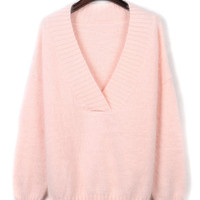 Pink V-neck Fluffy Knitted Sweater